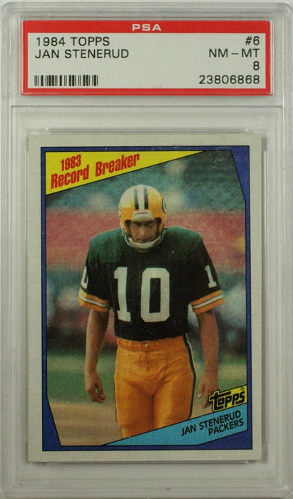1984 Topps Jan Stenerud Green Bay Packers NFL Football Card #6 PSA NM-MT 8 CK