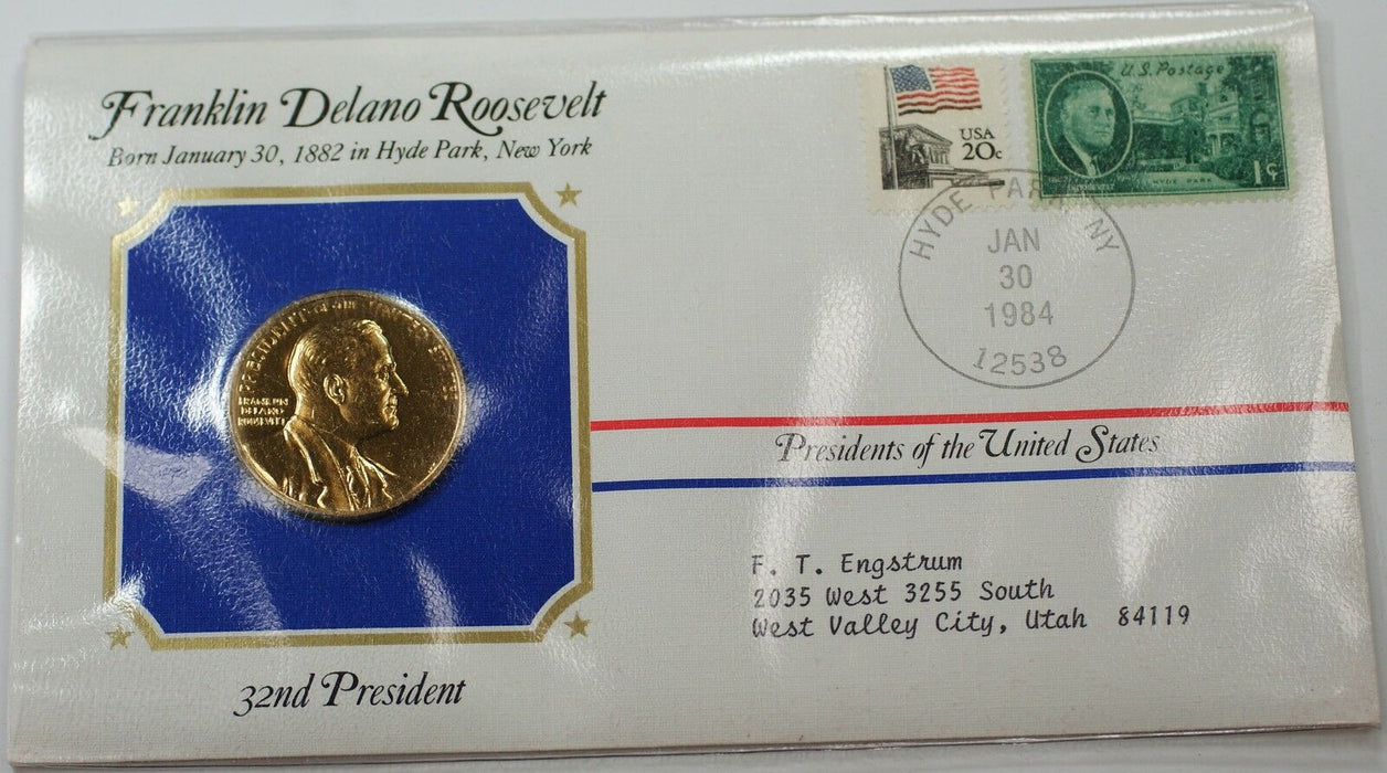 Harry S. Truman Medal 24 KT Electroplate Gold & Stamps Cover
