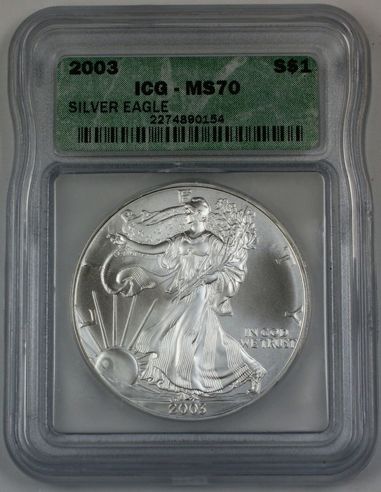 2003 American Silver Eagle Coin, ICG MS-70, Perfect Coin
