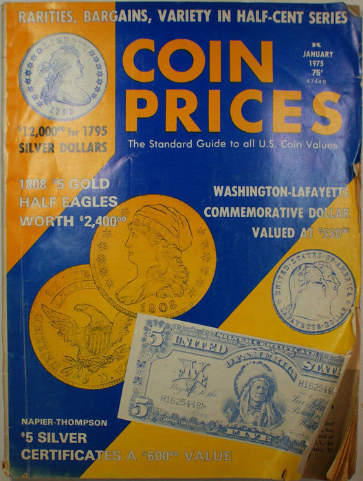 Coin Prices Magazine January 1975 Edition Issue #40 with Additional Price Guides
