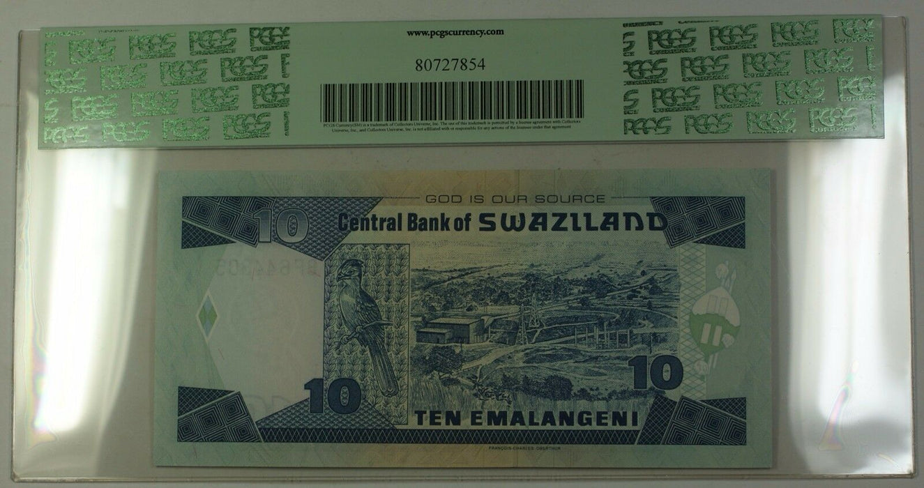 1.4.2006 Swaziland Central Bank 10 Emalangeni Note SCWPM#29c PCGS Gem 68 PPQ