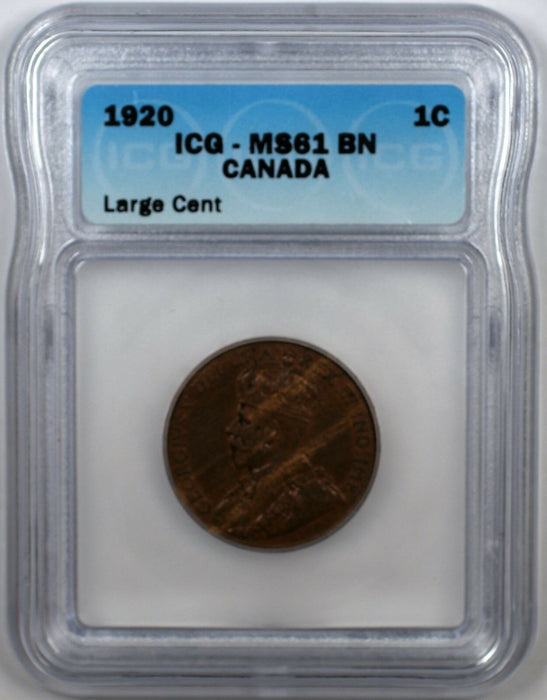 1920 Canada 1C Large Cent Coin ICG MS-61 BN