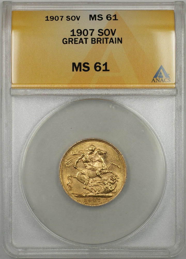 1907 Great Britain Sovereign Gold Coin ANACS MS-61 (AMT)