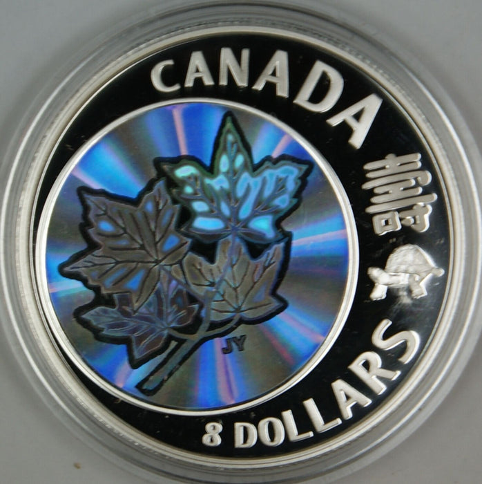 2007 Canada $8 Maple of Long Life .9999 Hologram Proof Silver Coin- w/ Box & COA