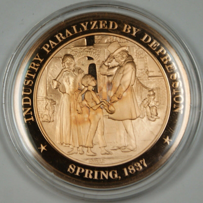 Bronze Proof Medal Industry Paralyzed by Depression Spring 1837