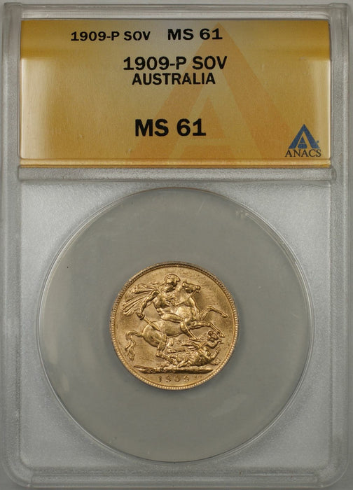 1909-P Australia Sovereign Gold Coin ANACS MS-61 (F AMT)