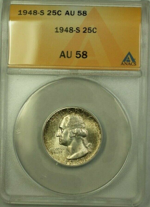1948-S Washington Quarter 25c Coin ANACS AU-58 Toned (Better Coin) (WW)