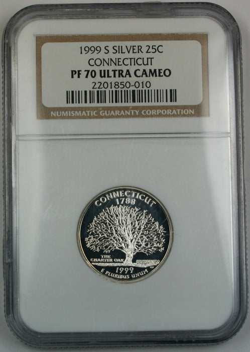 1999-S NGC PF-70 UC Connecticut 90% Silver Statehood Quarter, Proof Coin