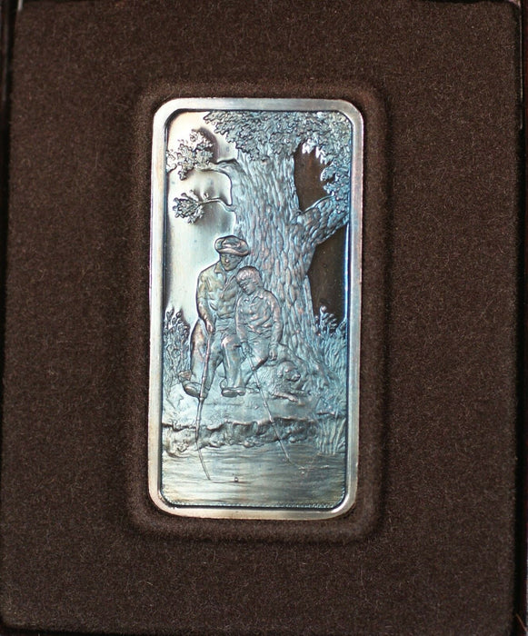 1974 Hamilton Mint First Fathers Day Oak Tree Blue 1 Troy Oz Silver Ingot
