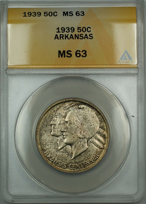 1939 Arkansas Silver 50c Commemorative ANACS MS-63 (Better Coin) Toned DGH