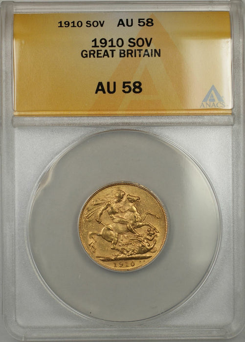 1910 Great Britain Sovereign Gold Coin ANACS AU-58 (A AMT)
