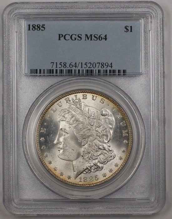1885 US Morgan Silver Dollar $1 Coin PCGS MS-64 Reverse Toned (Better) BR3 F