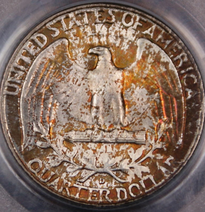 1949-D Silver Washington Quarter Coin, PCGS MS-66 Toned