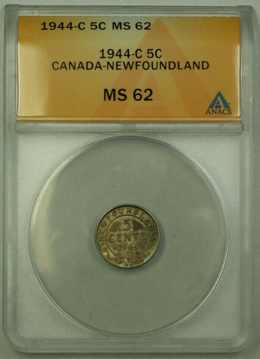 1944-C Canada Newfoundland 5 Cents Silver Coin ANACS MS-62