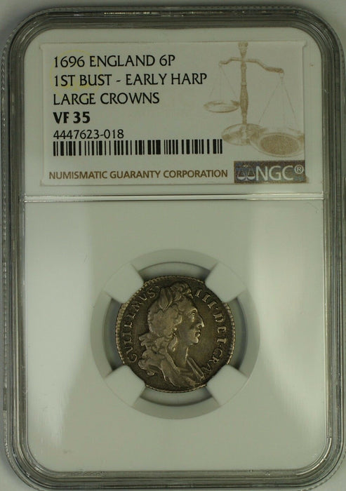 1696 England 1st Bust Early Harp L. Crowns William III 6P Silver Coin NGC VF-35