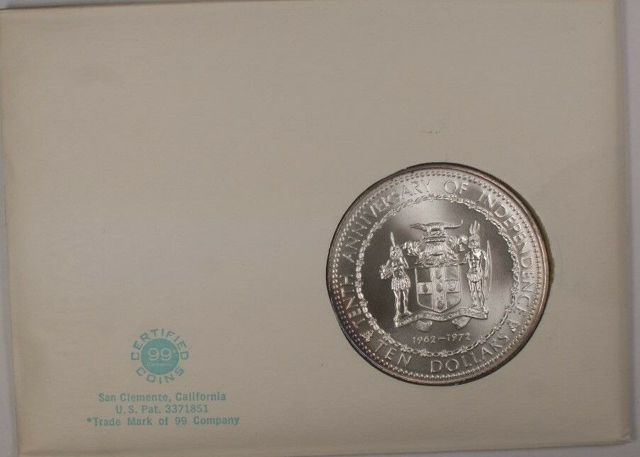 1972 Jamaica Ten Dollars Sterling Silver Pink Toned UNC Coin in Cover with Stamp