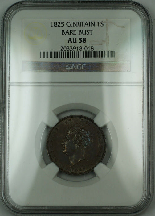 1825 Great Britain 1s Shilling Silver Coin Bare Bust George IV NGC AU-58 AKR