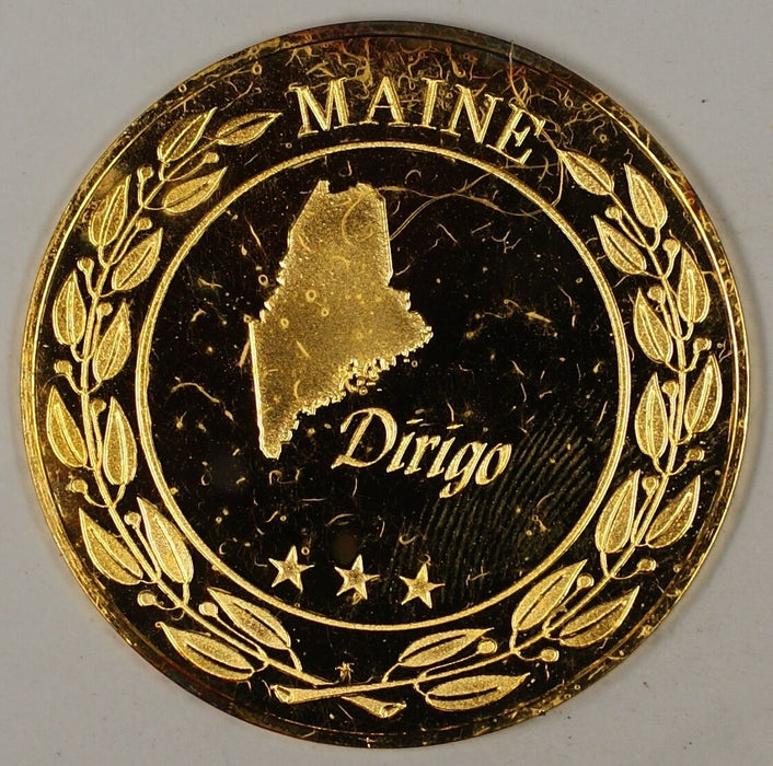 "Gold Plated Sterling Silver Proof Medal Maine ""Dirigio"" in Plastic Case"