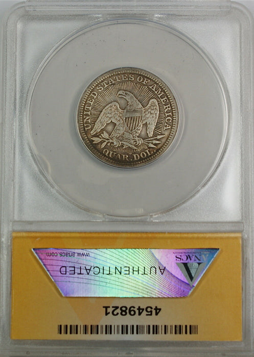 1853 Seated Liberty Silver Quarter, ANACS VF-35 Arrows & Rays, Details - Cleaned