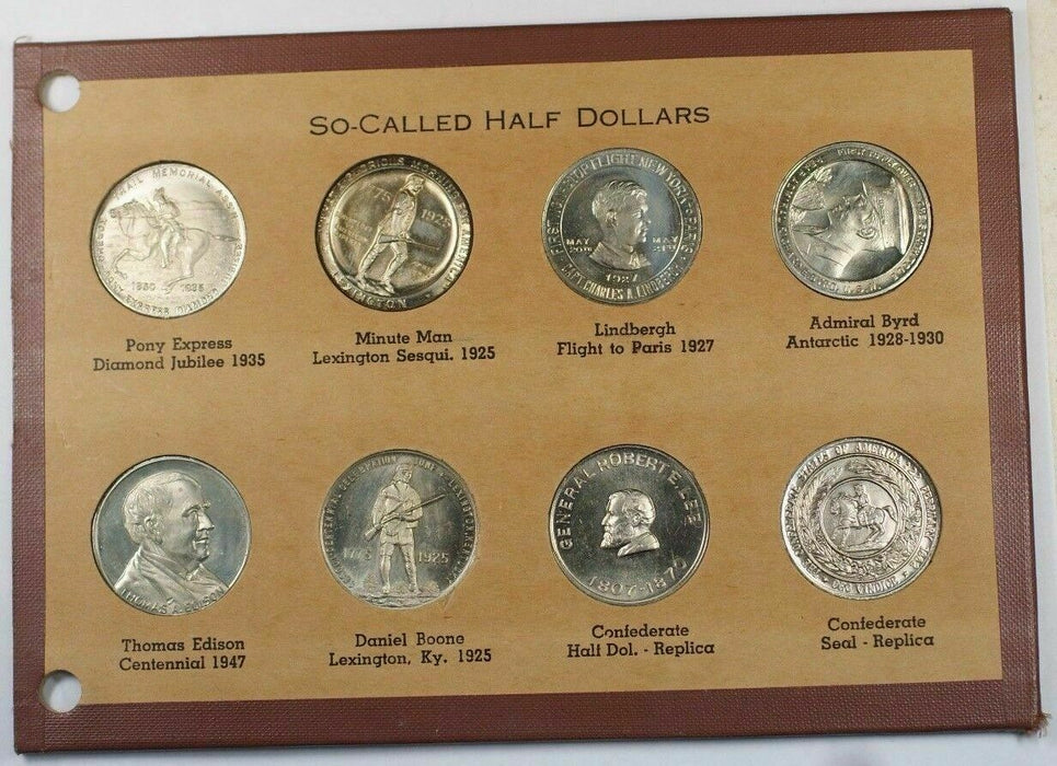 "Collection of 8 ""So-Called Half Dollars"" Tokens in Booklet Good Condition GH"
