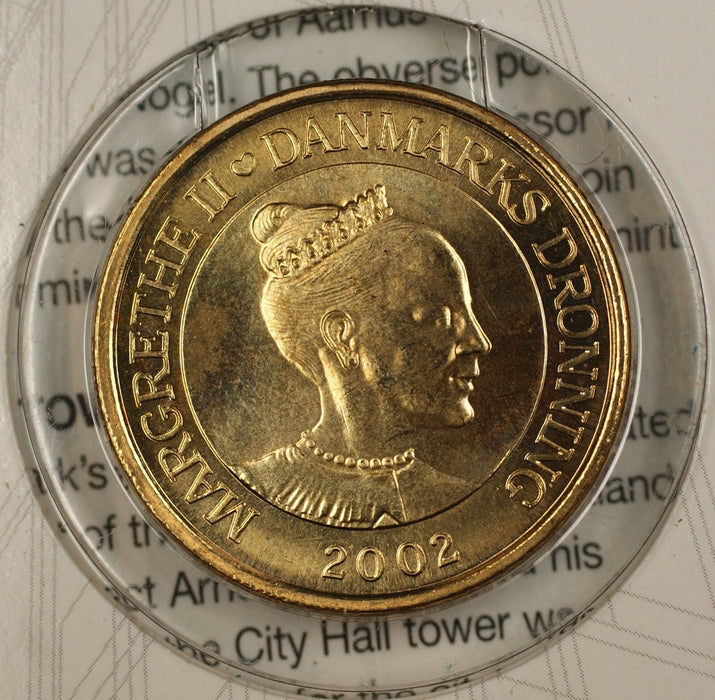 2002 20 Krone Denmark Thematic Uncirculated Coin Aarhus City Hall Tower