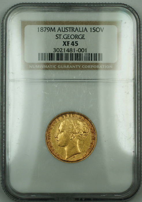 1879 M Australia 1 Sovereign Gold Coin NGC XF-45 St. George