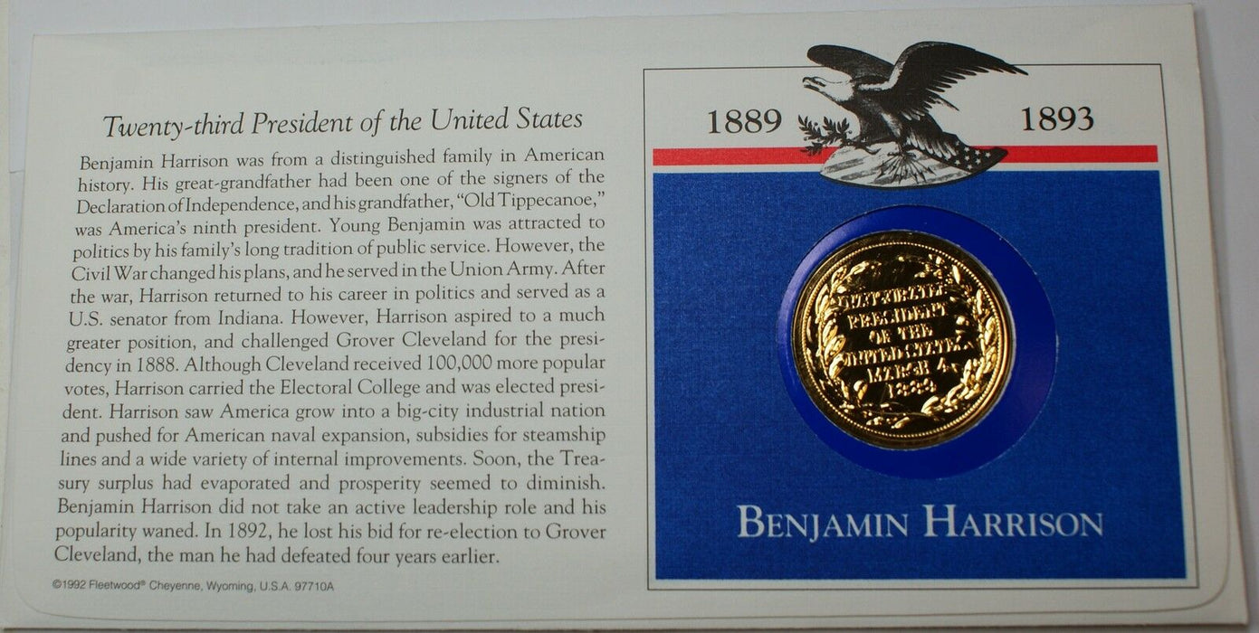 "Benjamin Harrison Presidential Medal, From the ""Hail to The Chiefs"" Collection"