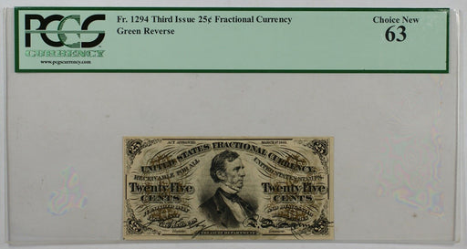 Fr. 1294 Third Issue 25c Fractional Currency PCGS Choice New 63 Green Reverse