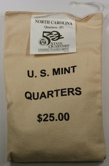 $25 US Mint Sewn BU 2001-P North Carolina State Quarters Bag in Original Bag