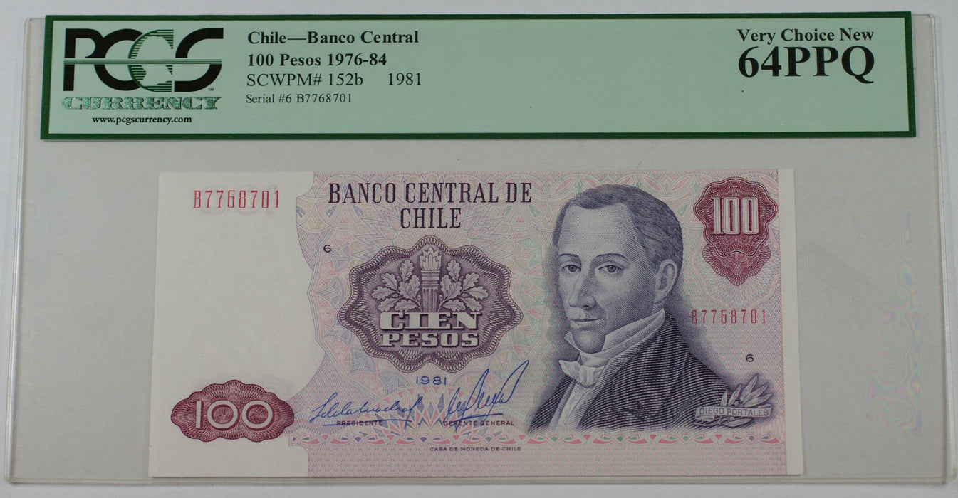 1976-84 Chile Banco Central 100 Pesos Note SCWPM# 152b PCGS 64 PPQ Very Ch New