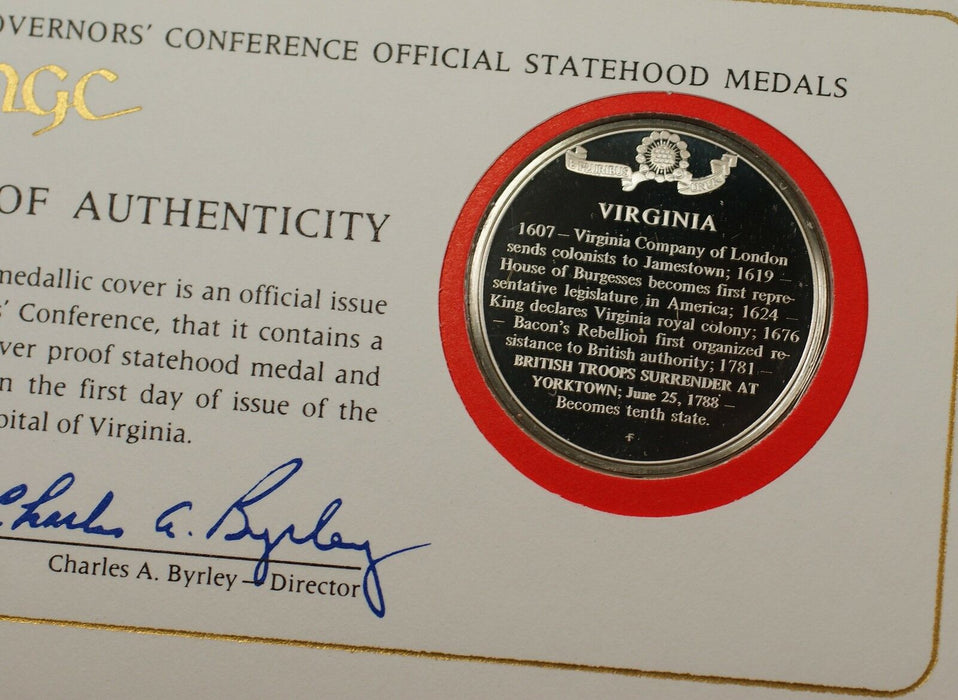 Virginia Governors Commonwealth Medal Proof Sterling Silver 1 Oz Cover