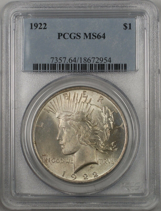 1922 Silver Peace Dollar $1 Coin PCGS MS-64 (BR 11 I) Lightly Toned Better Coin