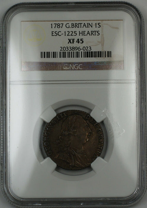 1787 Britain 1 Shilling Silver Coin ESC-1225 Hearts George III NGC XF-45 AKR