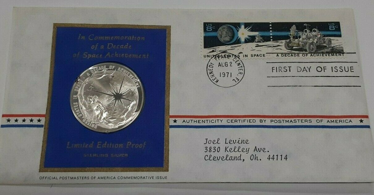 1971 Postmasters Of America Commemorative Silver Medal  US Decade in Space