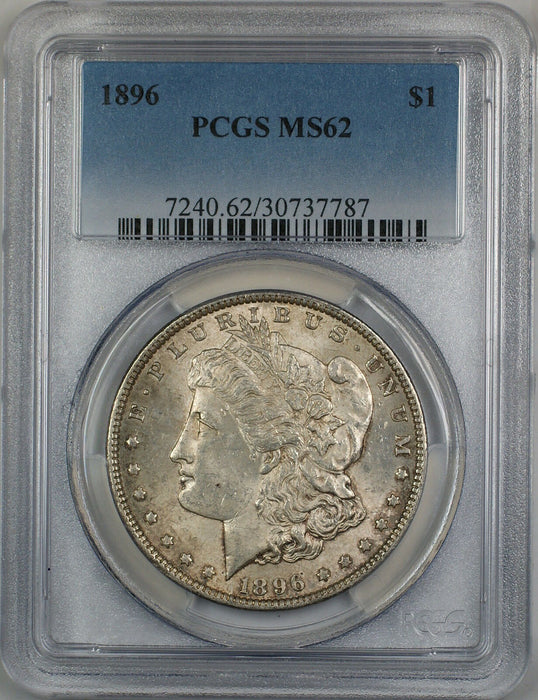 1896 Morgan Silver Dollar $1 PCGS MS-62 Lightly Toned (Better Coin) (4A)