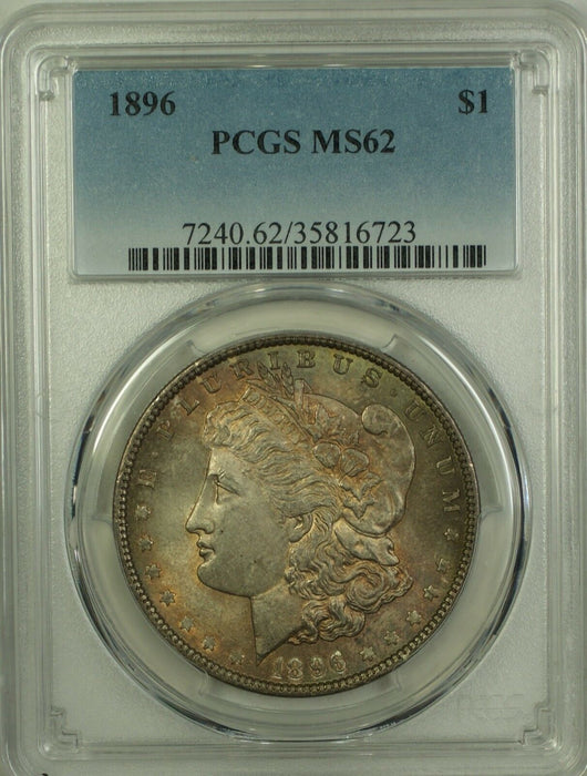 1896 Morgan Silver Dollar $1 PCGS MS-62 Toned (Better Coin) (10)
