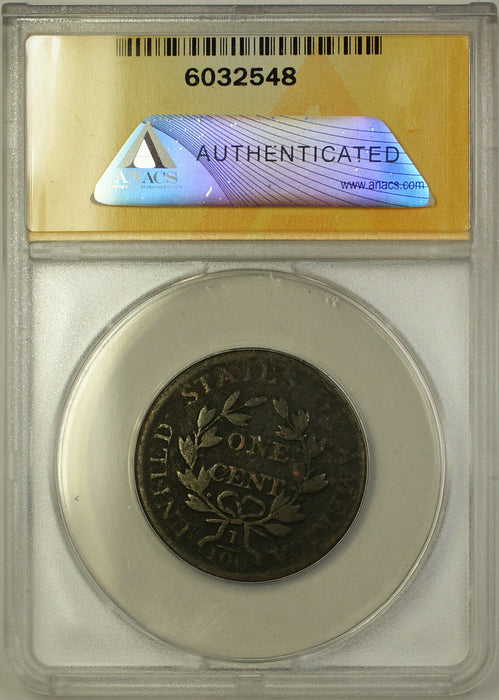 1807 Draped Bust Cent 1c Coin ANACS VG-8 Details Bent - Corroded Rotated Reverse