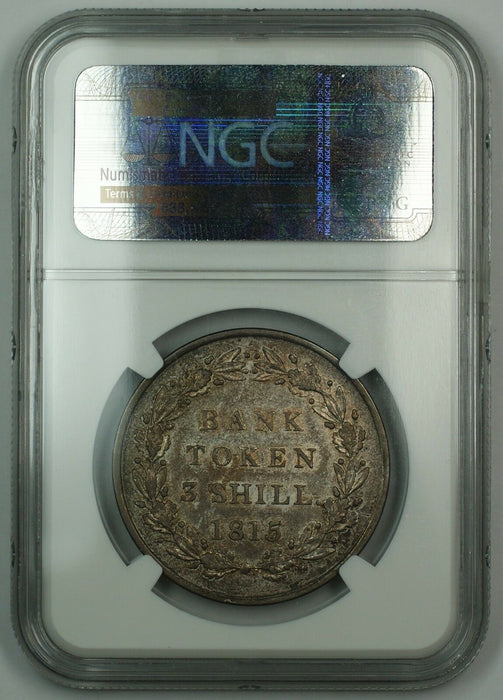 1815 Bank Of England 3 Shilling 3S Silver Coin Bank Token ESC-423 NGC AU-53 AKR