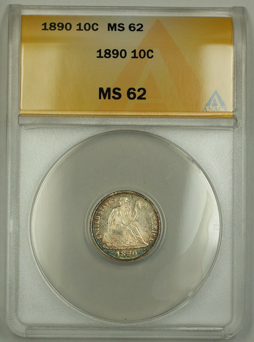 1890 Seated Liberty Silver Dime ANACS MS-62 Obverse Toned (Better Coin)