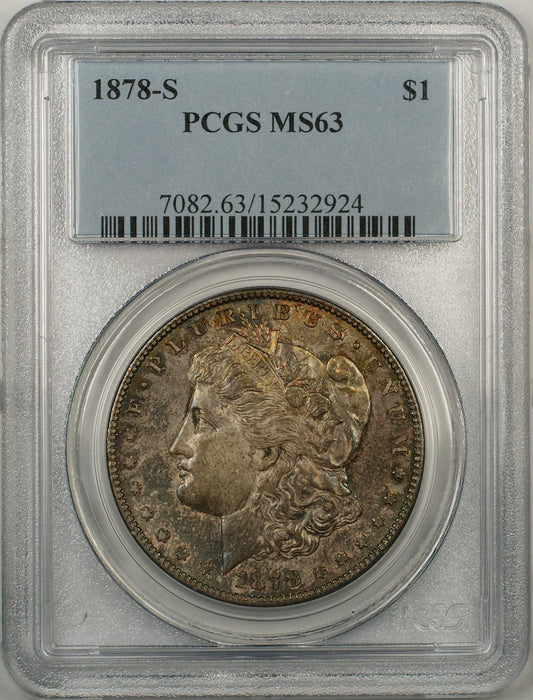 1878-S Morgan Silver Dollar Coin $1 PCGS MS-63 Toned (8F)
