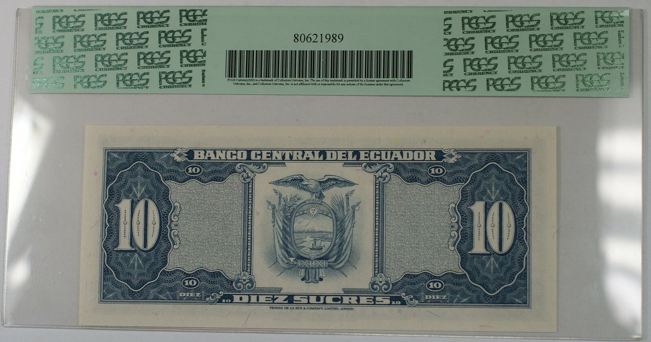 1980-83 Ecuador Banco Central 10 Sucres Note SCWPM#114b PCGS 58 PPQ Ch About New