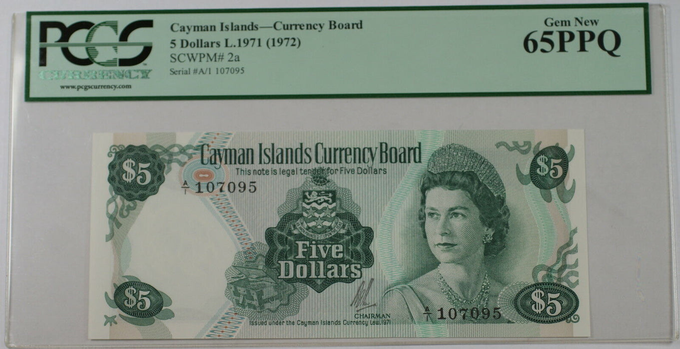 L.1971 (1972) Cayman Islands Currency Board $5 Note SCWPM 2a PCGS 65 PPQ Gem New