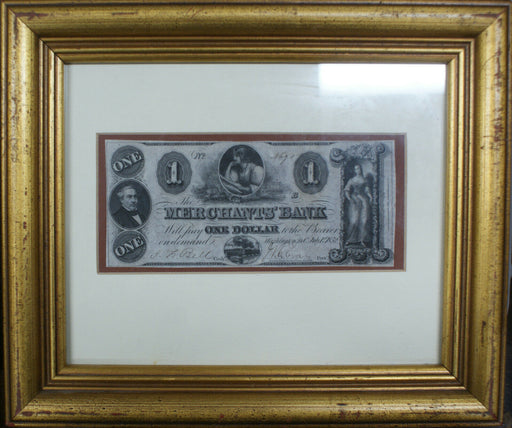Framed Washington DC $5 Merchants' Bank Note