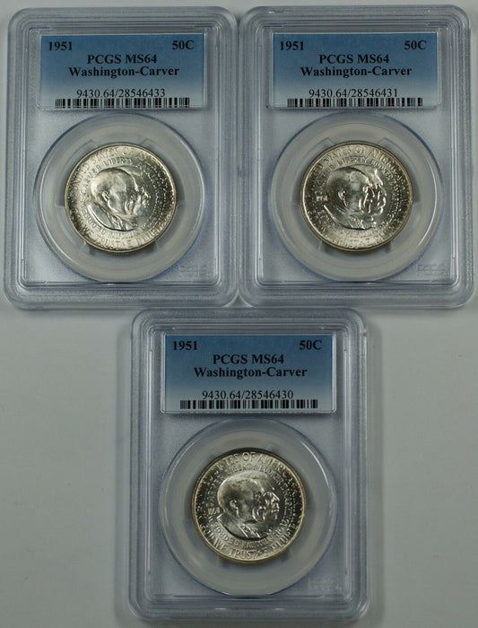 1951 Washington-Carver Silver Half Dollar PCGS MS-64 *PRICE FOR ONE COIN ONLY*