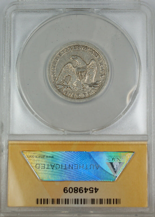 1854 Seated Liberty Silver Quarter, ANACS VF-30, Details - Cleaned