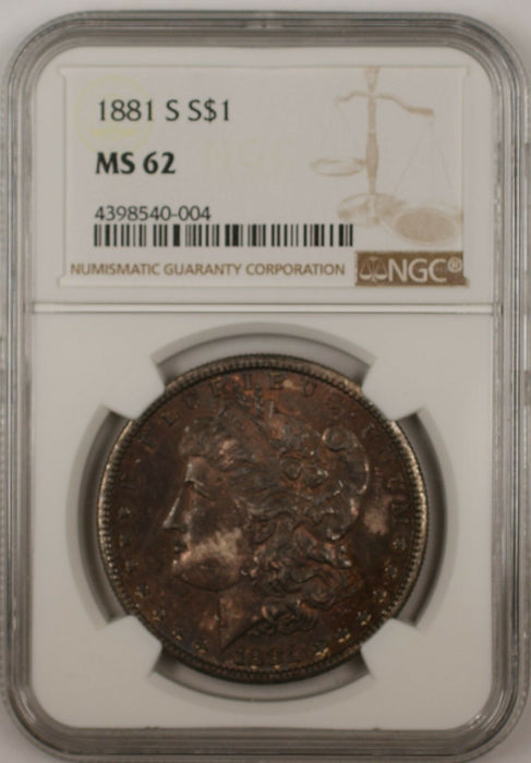 1881-S $1 Morgan Silver Dollar Coin NGC MS-62 Toned (Better Coin 13B)