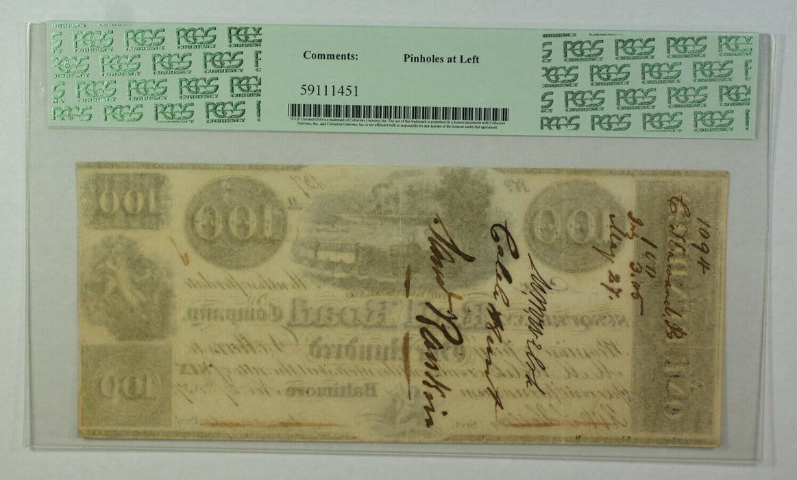Nov 27 1837 $100 Obsolete Currency Baltimore Susquehanna Rail Road Co PCGS VF-35