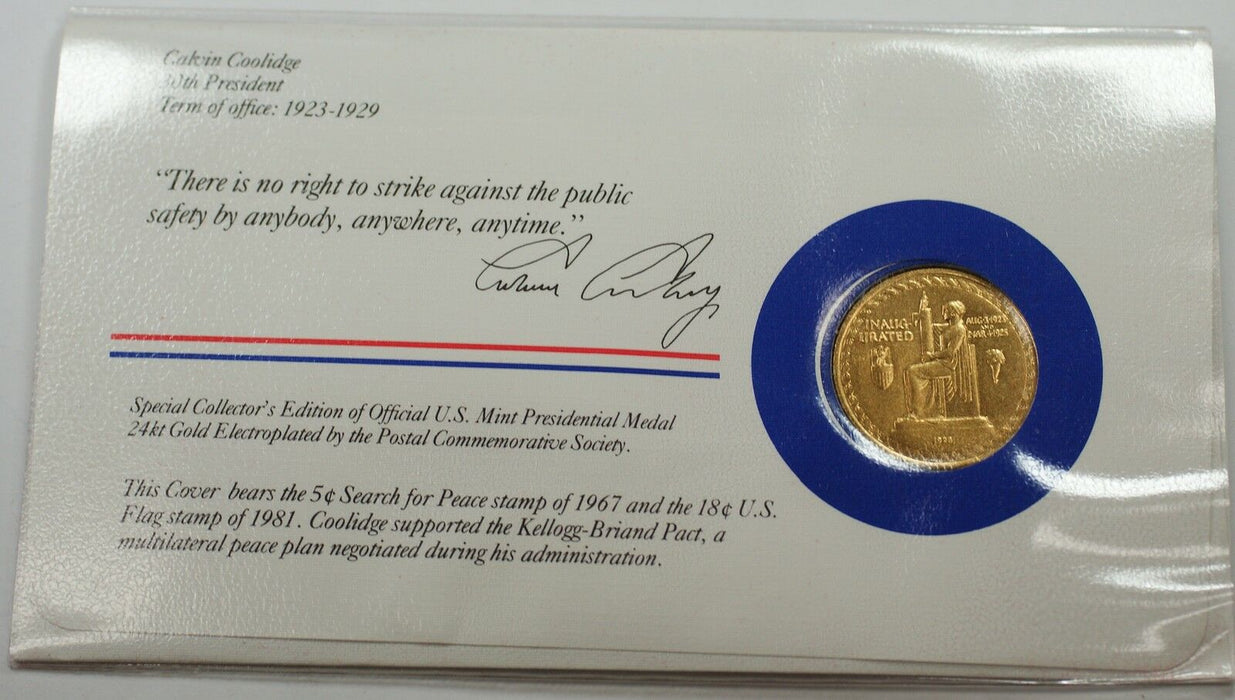 Calivin Coolidge Presidential Medal 24 KT Electroplate Gold & Stamps Cover