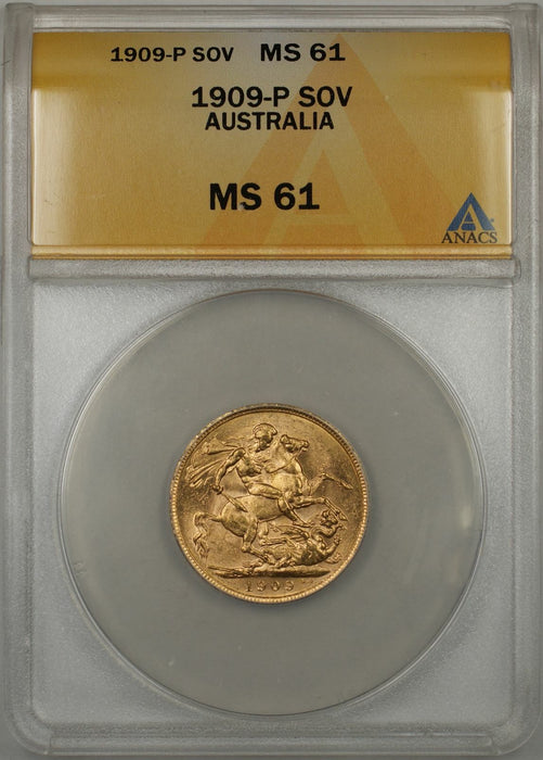 1909-P Australia Sovereign Gold Coin ANACS MS-61 (D AMT)