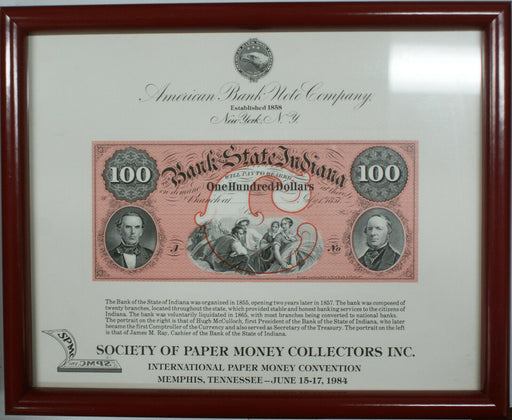 Framed ABNC Souvenir Card SO 37 TN 1984 SPMC $100 Bank of Indiana Red Large Note